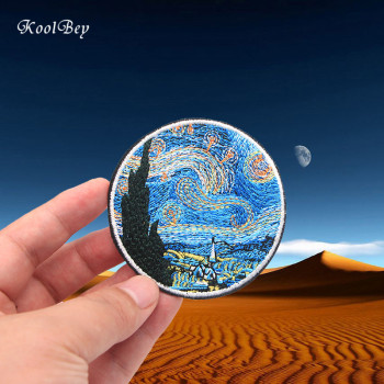 100pcs/lot Van Gogh Painting The Starry Night Embroidery Iron On Patches For Clothes DIY Accessory Applique Armband Stickers