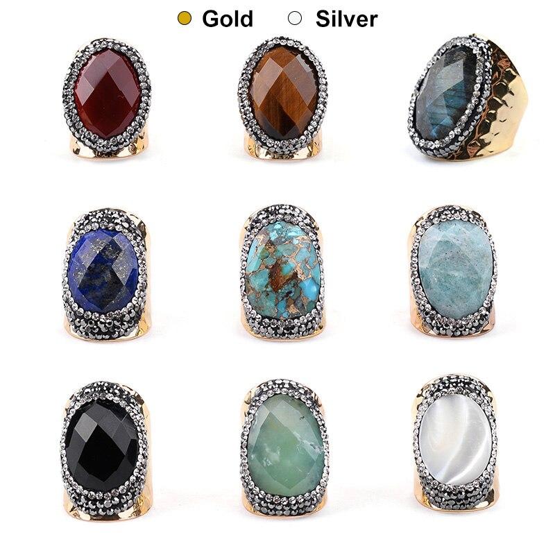 bdc88f549f61 BOJIU de moda oro y plata grandes anillos de piedra para las mujeres Boho  negro de cristal labradorita piedra arenisca azul