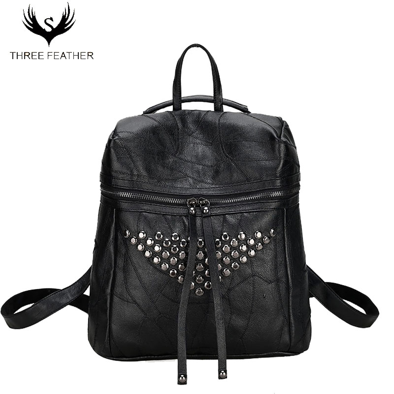 Fashion Rivet Sheepskin Women Genuine Leather Backpacks for Teenage Girls Female School Bag Bagpack mochila sac a dos SY115 2016 fashion women backpacks rivet soft sheepskin leather bags shoulder for teenage girls female travel bag free gift