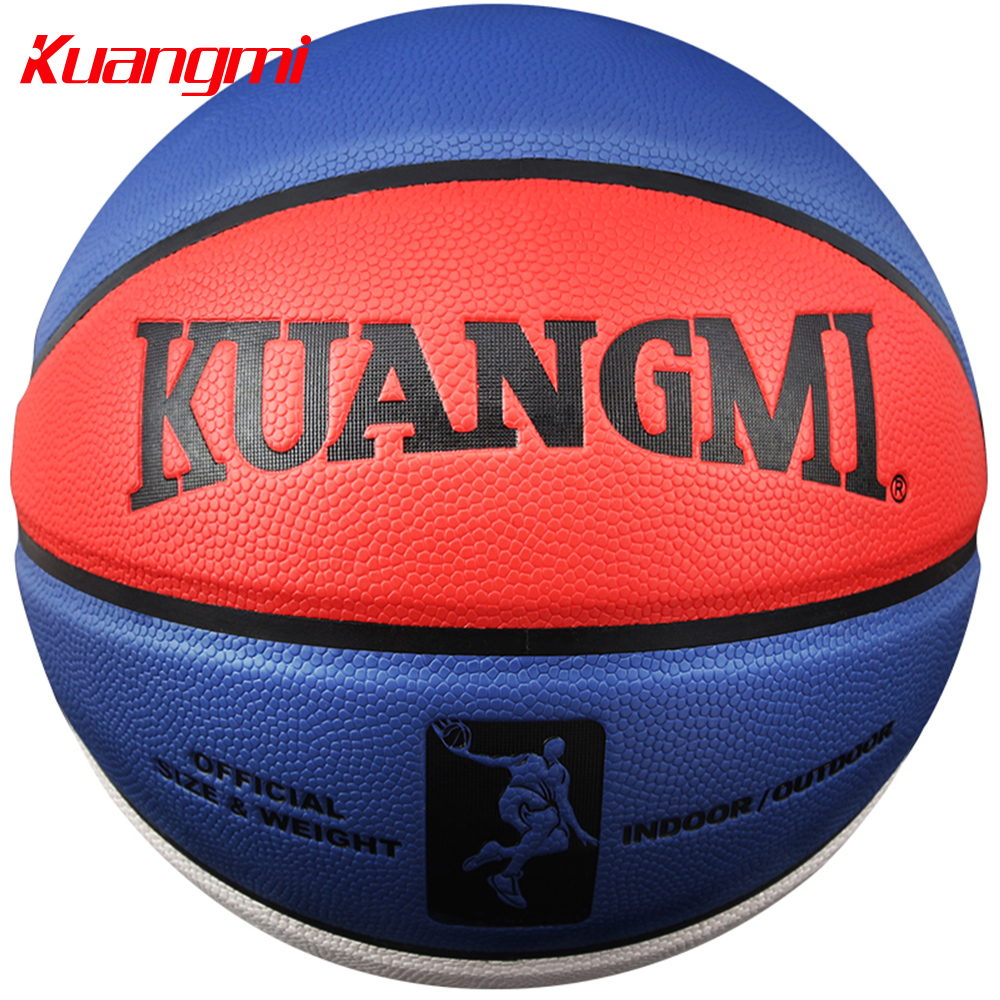 Kuangmi PU ტყავის კალათბურთი ოფიციალური ზომა 7 დახურული ღია კალათბურთის ბურთის სავარჯიშო თამაში 2 ფერის უფასო ტომრით + ნემსით