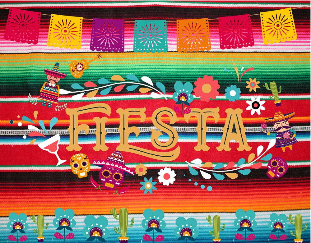 Summer Fiesta Theme Photography Backdrop Mexican Dress-up Photo Booth Background Birthday Party Banner Backdrops W-928