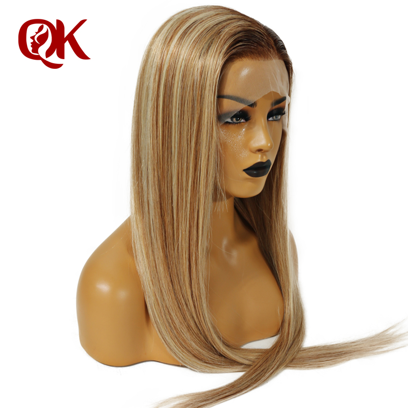 QueenKing hair Front Lace Wig 180 Density Lemi Color Balayage Ombre Wigs T4 27 613 Brazilian