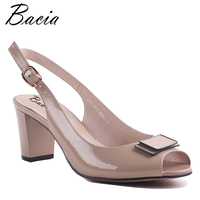 Bacia Full Grain Leather Sandals Handmade Quality Women Shoes Summer Square Heels Genuine Leather Pumps Size