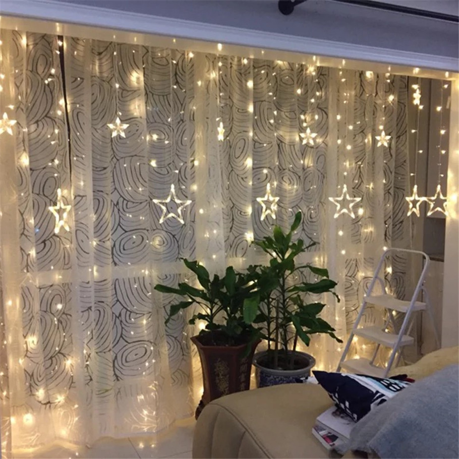 Christmas Lights AC 220V EU Plug Romantic Fairy Star LED Curtain String Lighting For Holiday Wedding Garland Party Decoration touken ranbu online good smile face changable 511 mikazuki munechika nendoroid pvc action figure collectible model toy