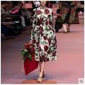 2016 Hot new European design quality long dresses women's fashion autumn style dinner girls slim dress lady printing M L S #H446