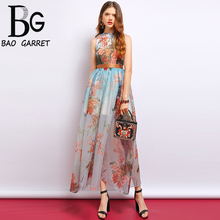 Baogarret Fashion Summer Dress Women's Sleeveless Side slit Mesh Overlay Floral Printed Elegant Vintage Ladies Party Dress