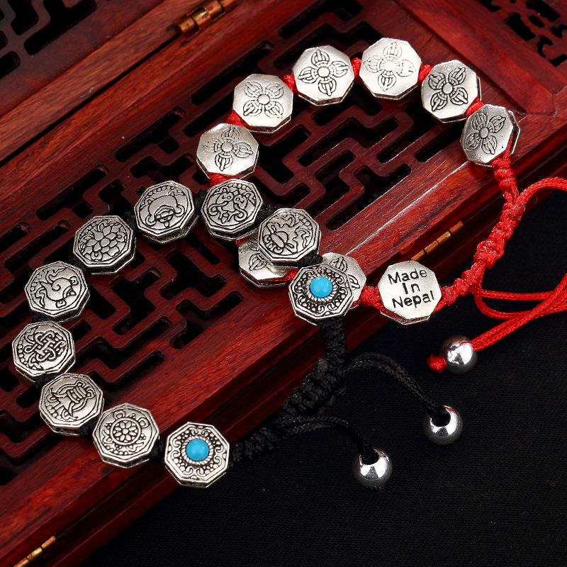 Six Words Sweet Lucky Thai Silver Restoring Ancient Ways And Personality Braided Rope Bracelet Wholesale Men And Women europe america japan south korea thai silver personality wild and simple men s and women s bracelet wholesale