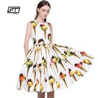 Fitaylor European Styl 2017 Summer Women Dress Fashion Sweet Ice Cream Floral O Neck Sleeveless Knee