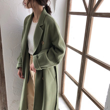 90% Wool+10% Cashmere Women Long Coat  Turn-down Collar Double Breasted Solid Button Autumn Winter 2019 New Items 130