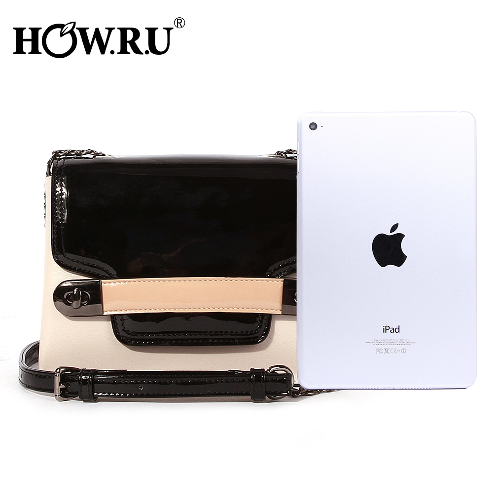 HOWRU Small Flap Bags For Women 2019 Luxury Handbags Women Bags Designer Patchwork PU Leather Chains Shoulder Messenger Bags     2