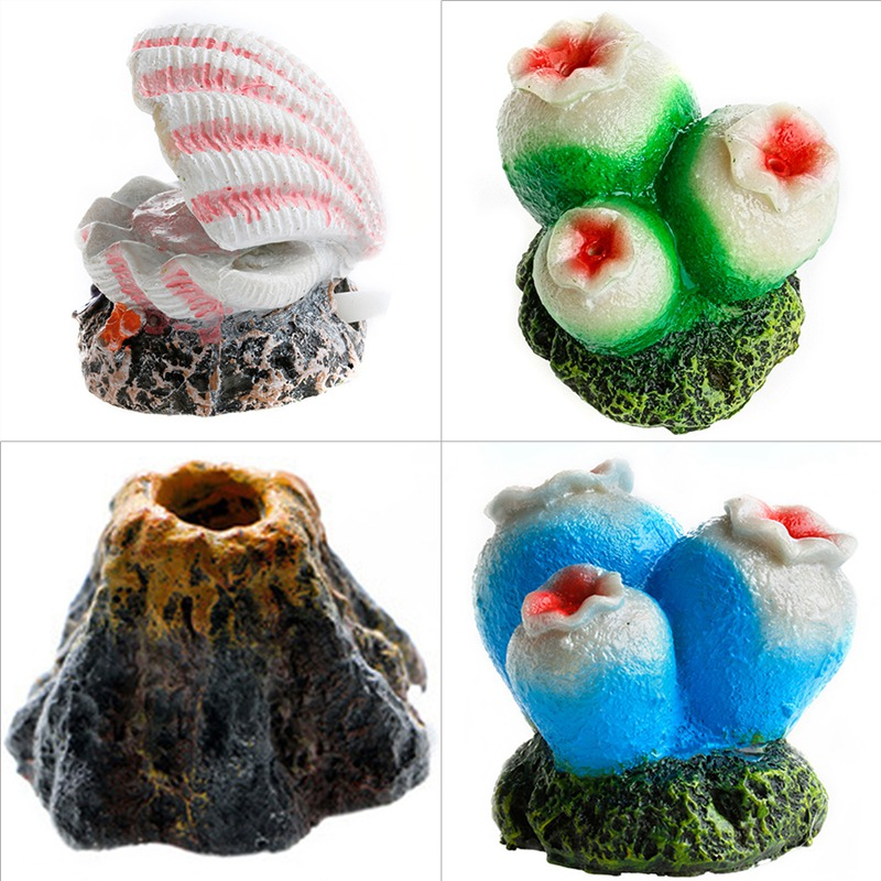 1 Pc Aquarium Set Aquarium Landschapsarchitectuur Decoratie Aërobe Decoratieve Bubble Stone Coral Vulkaan Parel Shell