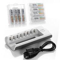 EBL 4pcs 2800mAh Rechargeable Battery + 4pcs 1100mAh NiMH Batteries + 8 Bay AA/AAA Battery Chargers free shipping