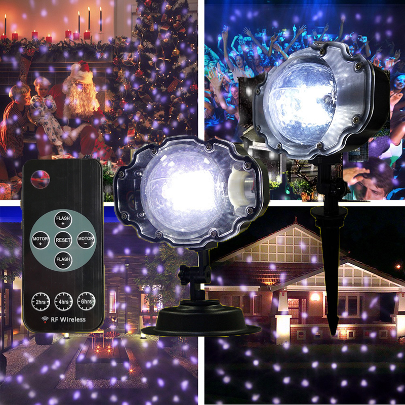 Christmas Projection Light Holiday Wedding Decoration LED Laser Projector Lamp Snowflake Stage Snow Lights For Outdoor Garden недорого