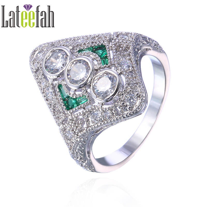 Lateefah Vintage Royal Jewelry Wedding Rings for Women Imitation Emerald Cubic Zirconia Retro Style Engagement Promise Ring Anel