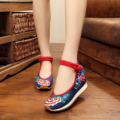 2016 New autumn quality rubber shoes women 5CM wedge heels fashion Vintage flower embroidery ladies pumps shoes