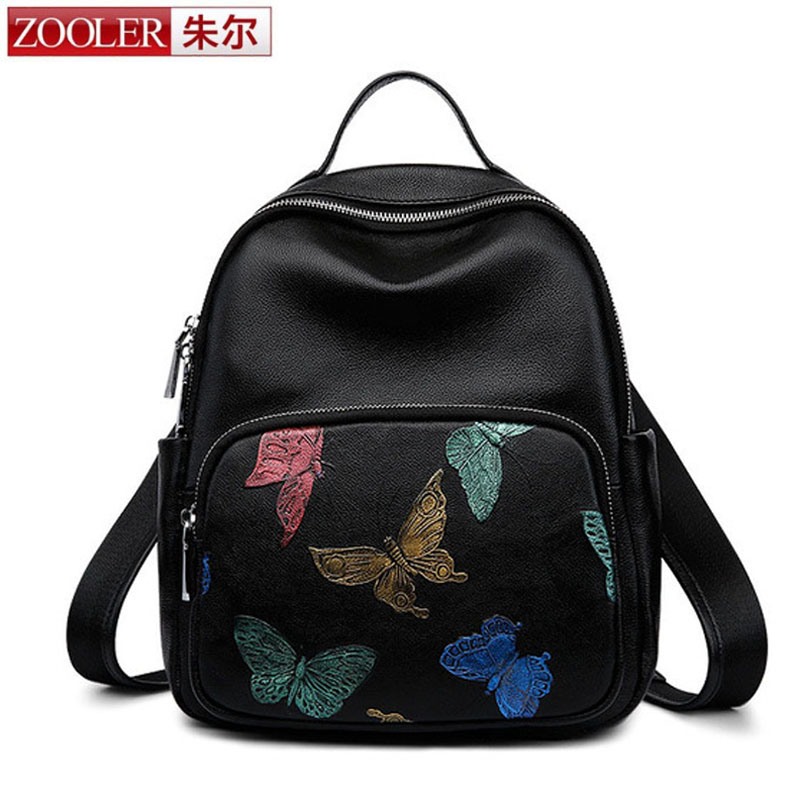 ZOOLER New Arrival Small Backpack Women Genuine Cow Leather New 3D Colorful Butterfly Girl Fashion Casual Travel Backpack
