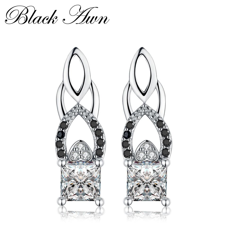 [BLACK AWN] Echt 925 Sterling Zilver Engagement Oorringen voor - Fijne sieraden