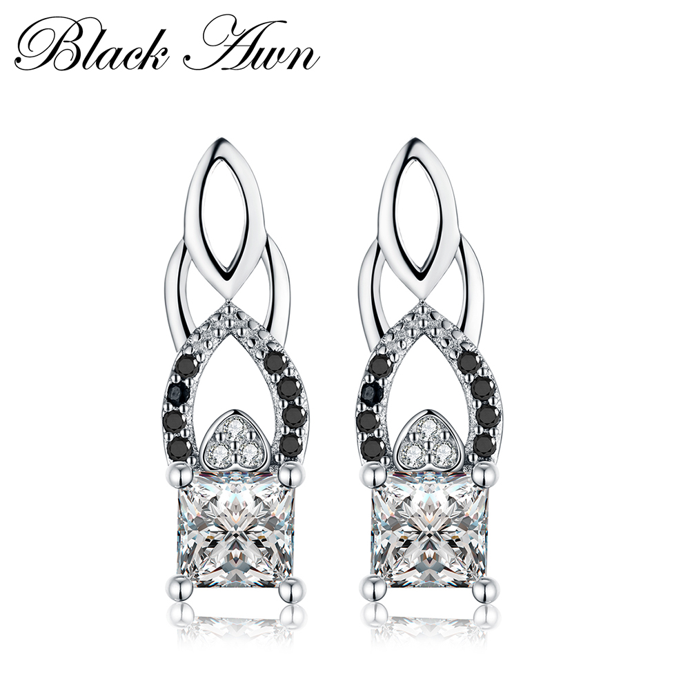Genuine 925 Sterling Silver Engagement Hoop Earrings For Women Black&White Stone Jewelry Bijoux T017