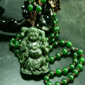 100% Natural Green Hand-carved Chinese Hetian Jade Pendant -Buddha-Free Necklace