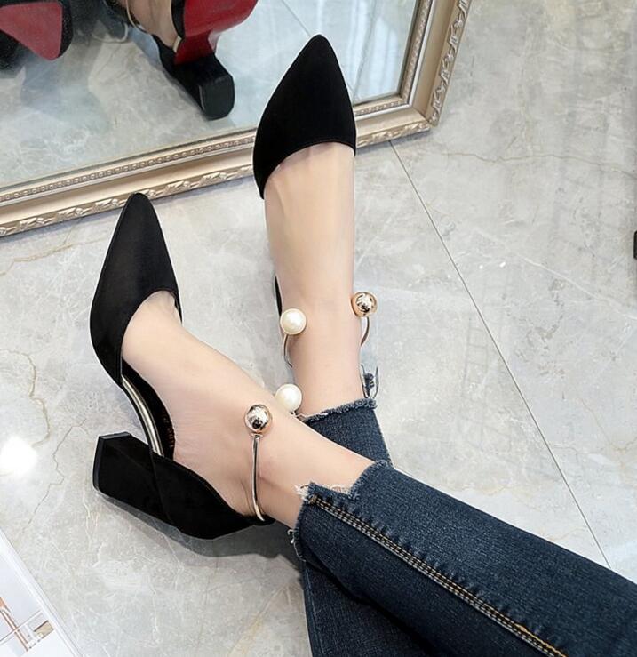 2018 Boucle Sandales Femmes Perle D'été Toe noir rouge Rose Talons Point Haute Sandalia Sangle Chaussures Beige Pompes Nude rose Gladiateur Sexy rwr5Y