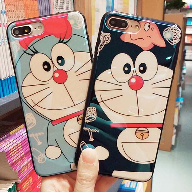 Phone Cases For iPhone X Blu-ray Prevent scratches Doraemon Case Cover For iPhone 6 6s Plus 7 7Plus 8 8Plus Celular Coques