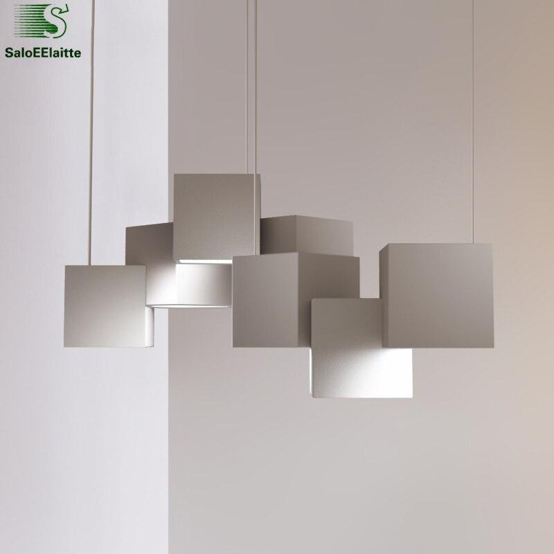 Современные Геометрические блеск Led люстра блеск металла светильник светодиодный подвесная люстра для Обеденная Освещение в помещении све...