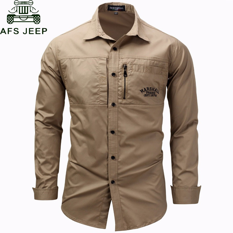 AFS JEEP Summer Shirts Men Long Sleeve 100% Cotton Military Army Shirt Men Plus Size 3XL Breathable Dress Shirt Camisetas hombre