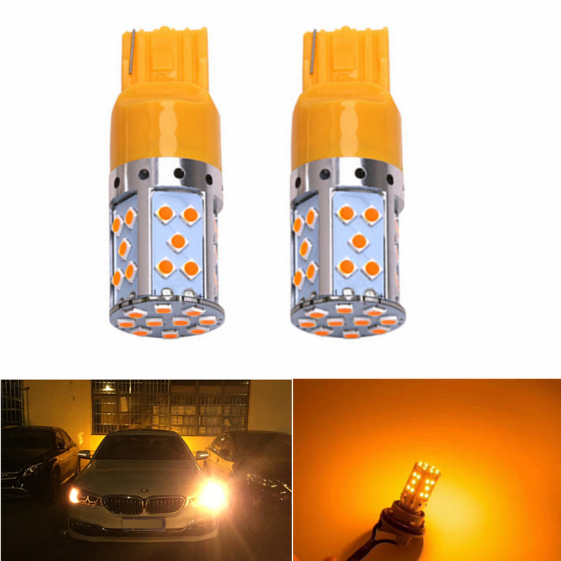 2PC Car 7440 <font><b>LED</b></font> Amber Yellow 35-SMD 3030 <font><b>LED</b></font> <font><b>T20</b></font> W21W <font><b>LED</b></font> <font><b>Bulbs</b></font> For Turn Signal Lights,Canbus DRL <font><b>Rear</b></font> Parking <font><b>Bulb</b></font> for cars image