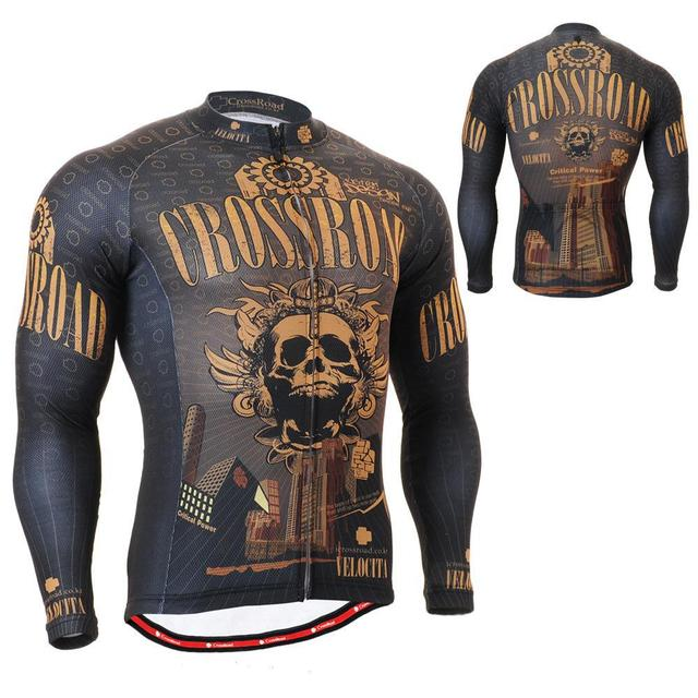 2701Golden Skull Breathable Non-Slip Silicone Band Long Sleeve Full Zipper Cycling  Jersey Outdoor MTB Road Bike Clothing S~3XL 89dcabea3