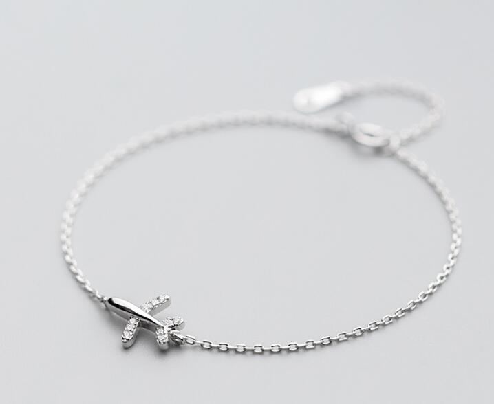 100% Authentic Real. 925 Sterling Silver Fine Jewelry Aircraft Airplane/ Plane with stone zirconia aaa+ Chain Bracelet GTLS719100% Authentic Real. 925 Sterling Silver Fine Jewelry Aircraft Airplane/ Plane with stone zirconia aaa+ Chain Bracelet GTLS719
