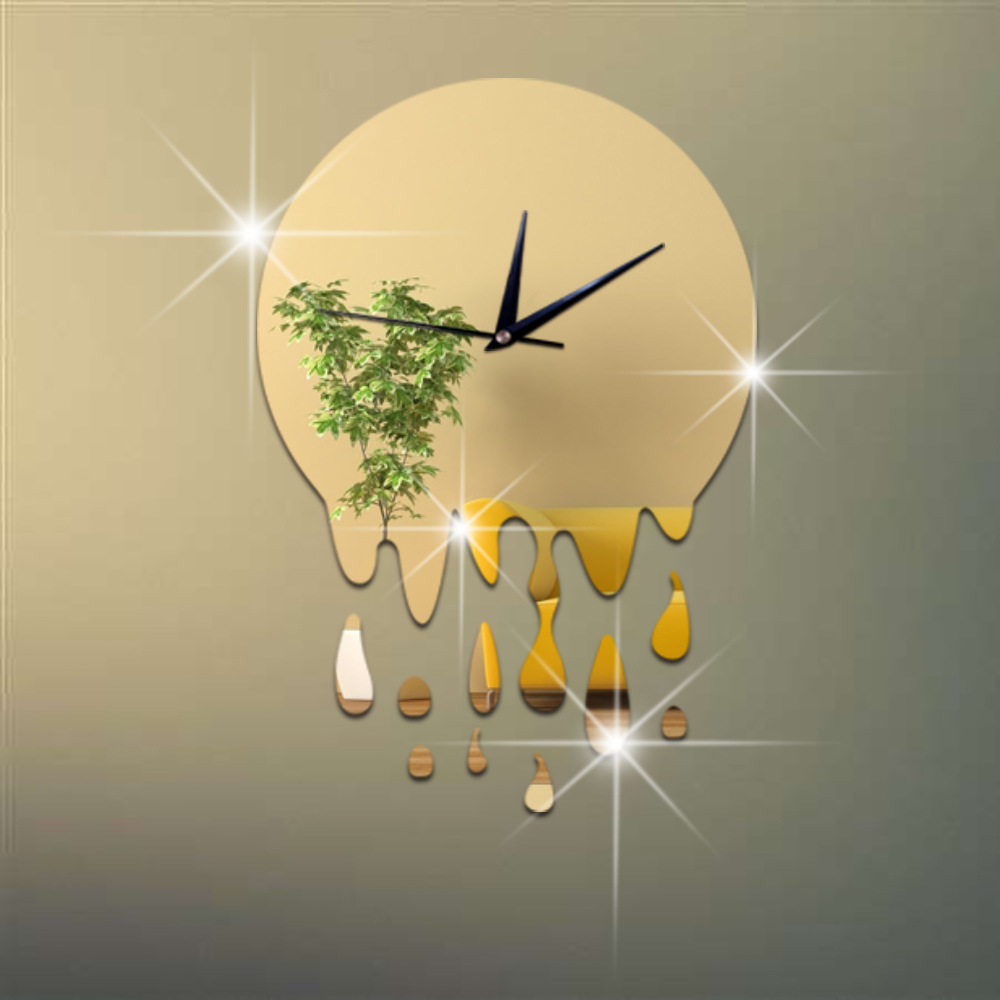 Creative 3 d raindrop decoration clock acrylic watch mirror wall ...