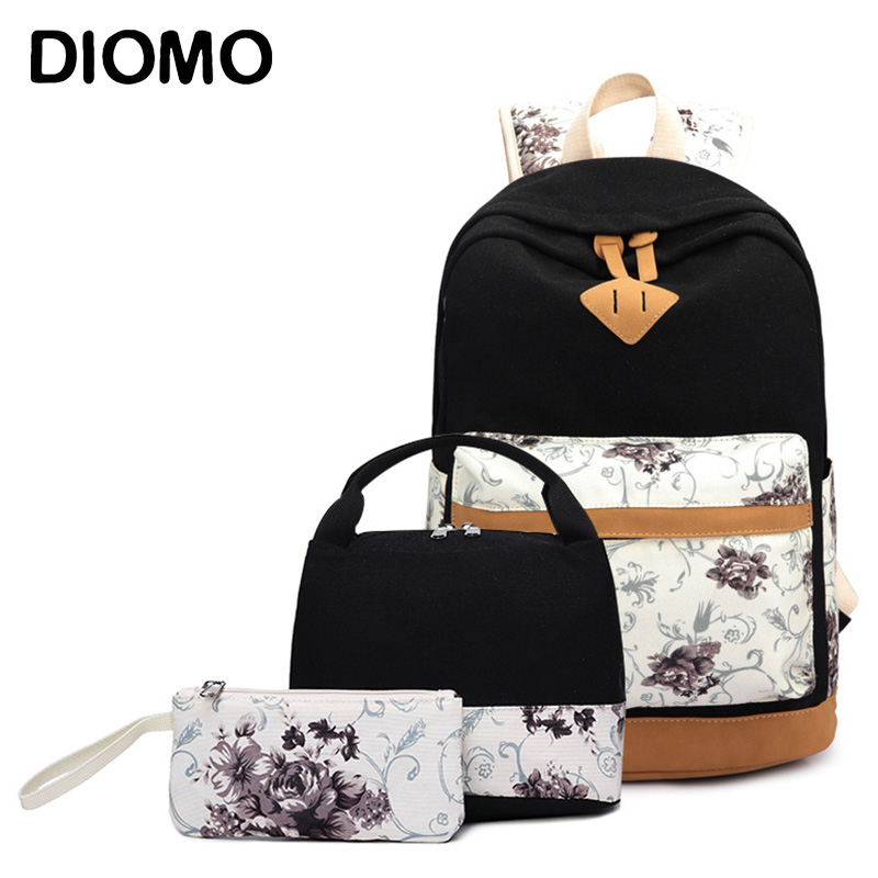 DIOMO School Backpack For Girls School Bags Set For Middle School Students Female Floral Canvas Zipper Traveling Bagpack