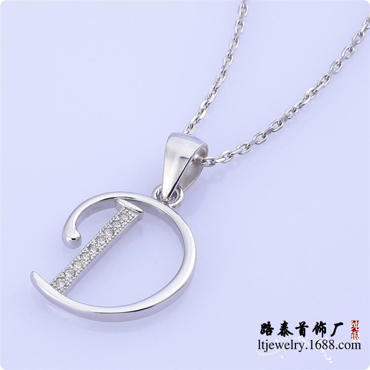 BLAL004 Micro pave setting Letter D pendant 925 silver zircon pendants chains necklaces free shipping