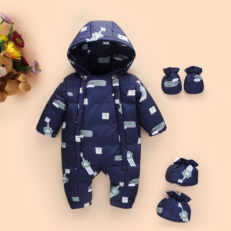 2018 Winter Thick Warm Ski Suit Infant Baby Rompers Clothes Baby Boys Girls Jumpsuit Newborn Hooded Overalls Kid Outerwears P126 free shipping winter newborn infant baby clothes baby boys girls thick warm cartoon animal hoodie rompers jumpsuit outfit yl