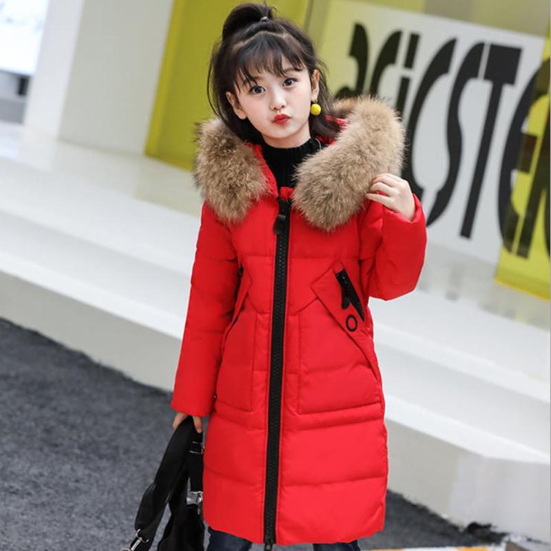 2018 Fashion Girls Long Thick 80% Duck Down Jacket Winter Girls Real Recoon Fur Collar Coat Clothes Children Girl Outerwear стоимость