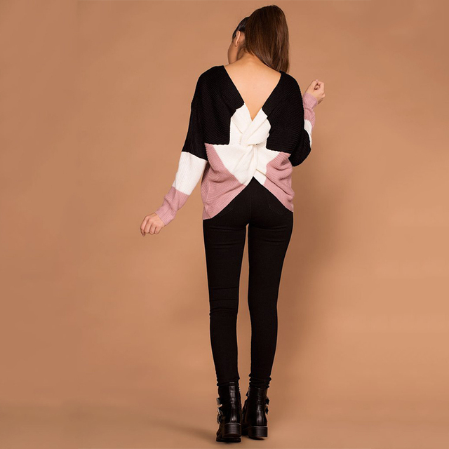 Criss Cross Backless Women Sweaters and Pullovers  4