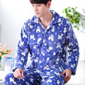 2017 Inverno Mens Conjuntos de Pijama Homens Cardigan de Manga Longa Flanela Pijamas Ternos Masculinos Sleepwear Nightwear Loungewear L-3XL Moda