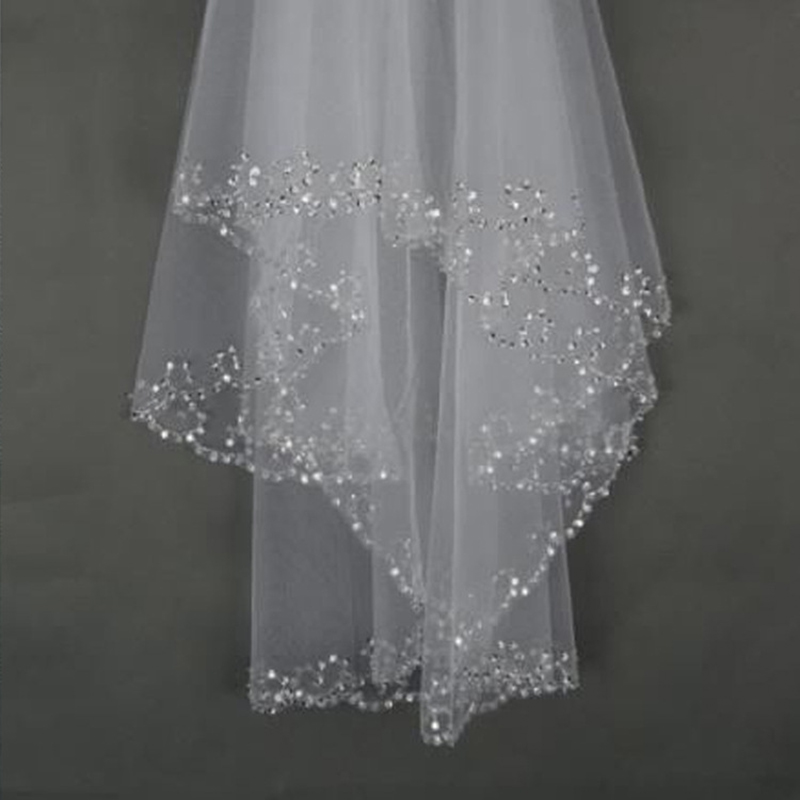 Hot Short Wedding Veils With Comb BlingBling Sequined Elbow Length Veils For Bride Ivory White voile mariage Wedding Accessories