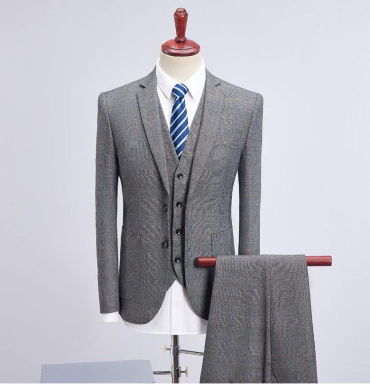 High Quality Light Grey Side Vent Groom Tuxedos Groomsmen Best Man Mens Wedding Suits  (Jacket+Pants+Vest+Tie) Terno Masculino