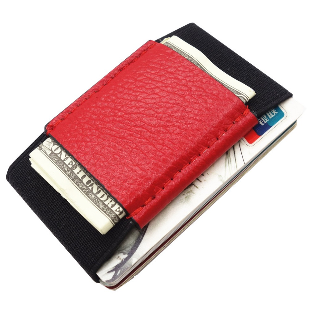 Minimalist Slim Leather Wallet With Elastic Front Pocket Card Holders And Cash Business Card Holder Purse Magic Card Case
