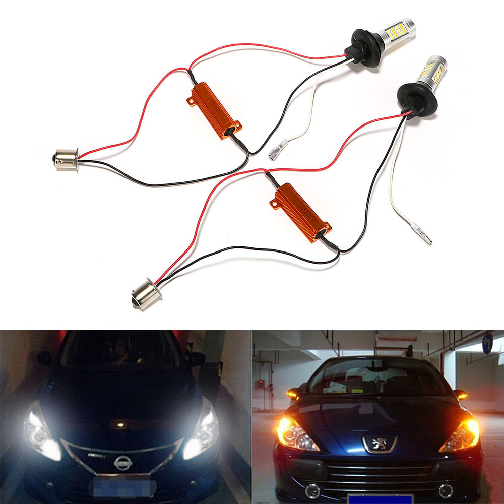 2Pcs/Set Car Turn Signal Light LED Car DRL 1156 42 LEDs 2 In 1 Car-styling Daytime Running Lights Auto Lamps DC 12V 2x 1156 ba15s s25 bau15s canbus dual color switchback led car auto front turn signal drl daytime running light lamp bulb 12 24v