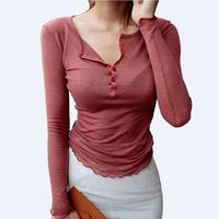 Single Breasted Sexy Long Sleeve T Shirt Women Semi Open Collar Thin Shirts Solid Fashion Slim