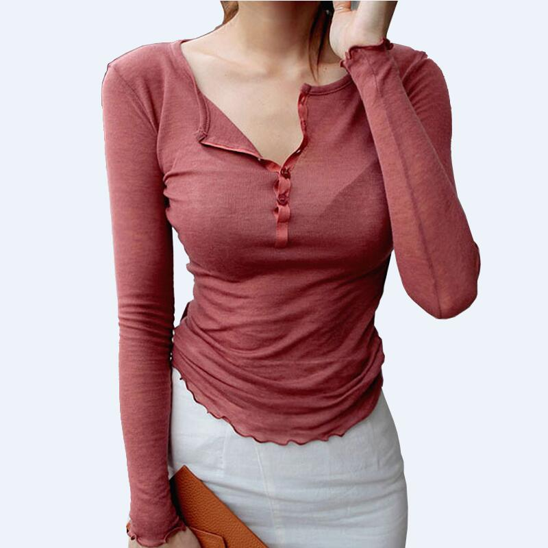 Single-Breasted  Long Sleeve Shirt Women Semi Open Collar Thin Knit Shirts Solid Fashion Slim Women Blouses Summer Top Tees