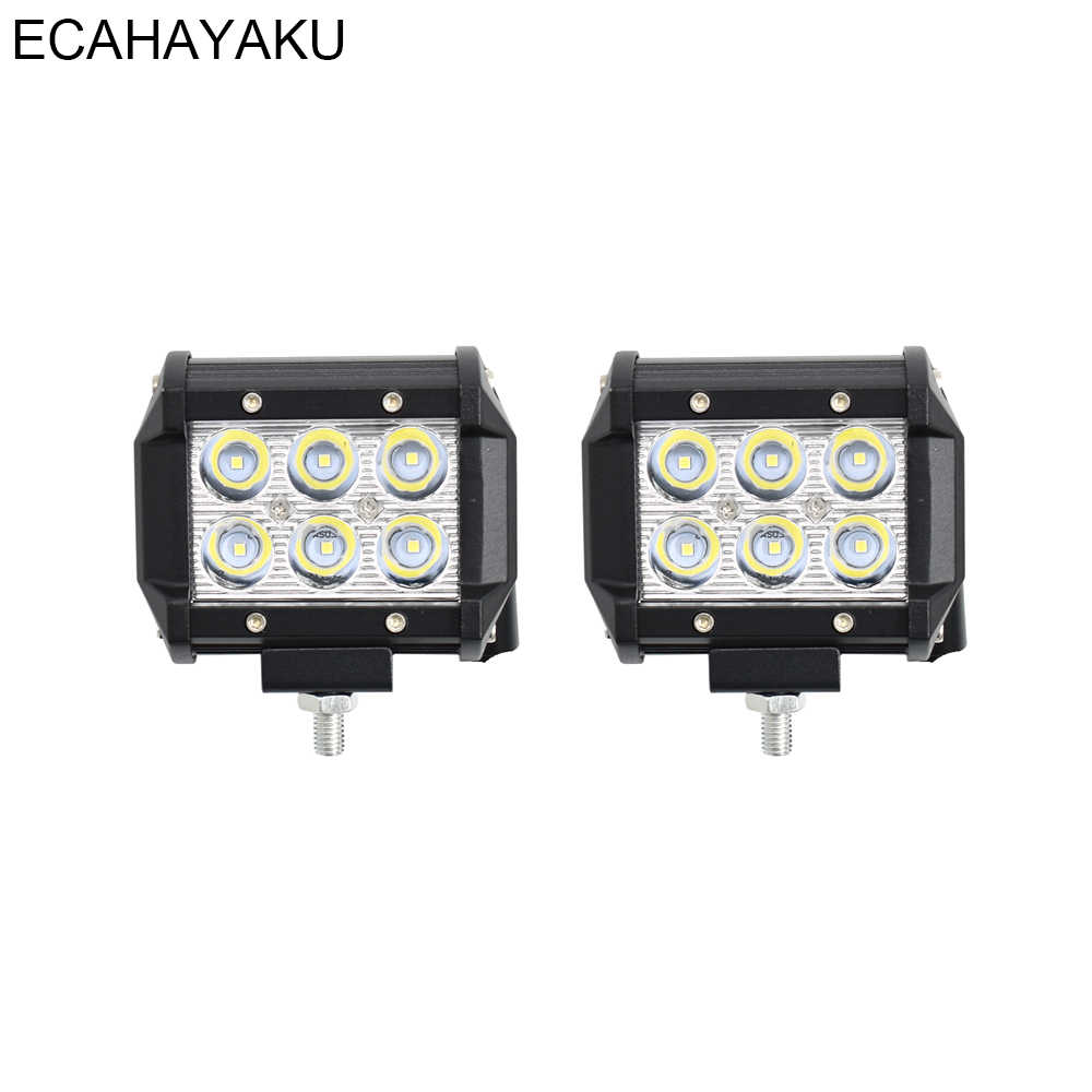"ECAHAYAKU 2Pcs Car Accessories 4"" 18W LED light bar 6000K 12V Pod Lights Led Work Light for Off-road Truck SUV Jeep Tractor 4WD"