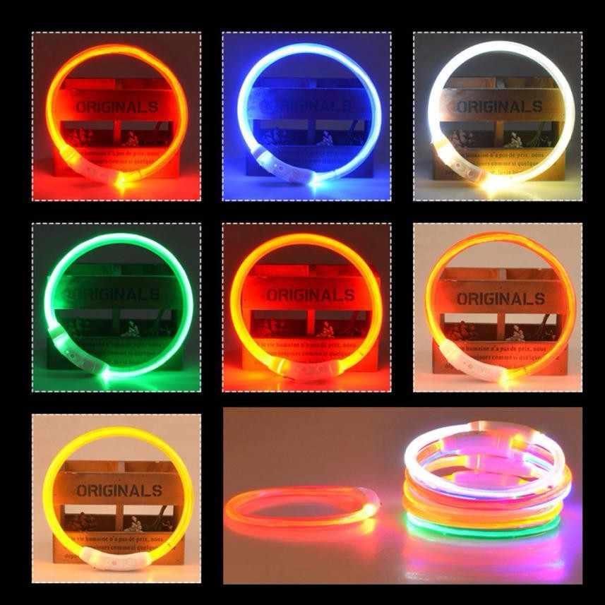 Adjustable USB Pengisian Pet Dog Collar Isi Ulang LED Tabung Berkedip Malam Glowing Luminous Keselamatan Hewan Peliharaan Kerah Anjing Anjing Kerah