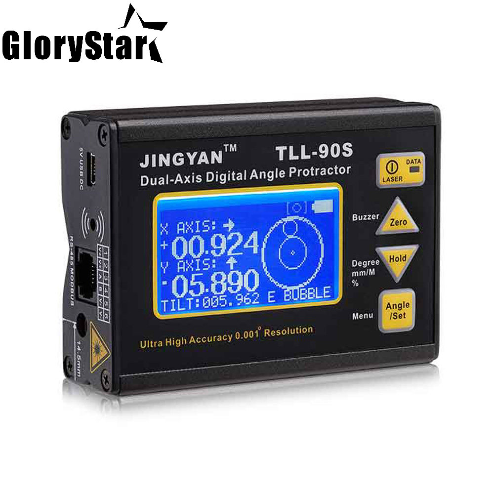 GloyrStar TLL 90S Super High Precision laser level LCD Display Angle Meter 0 005 Professional Dual