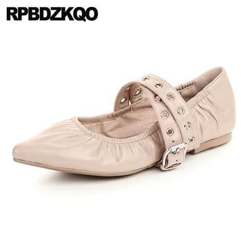 Flats Italian Metal Genuine Leather Nude Celebrity Pointed Toe Designer Ladies Mary Jane Wedding Ballet Shoes Ballerina Women