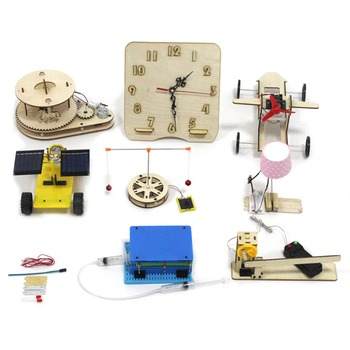 9pcs/set Science Educational Toy DIY Clock/Table Lamp/ Car /Bell/Door Assembling Kids Toys for Children Gifts
