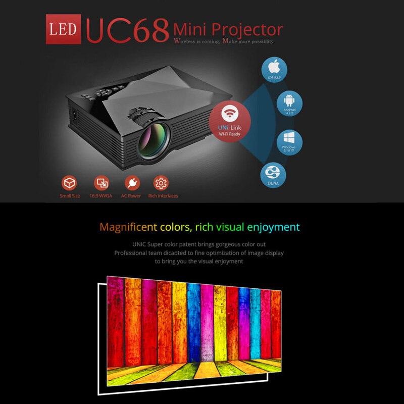 UNIC UC68 projecteur à LED portable 1800 Lumens 80 110 ANSI HD 1080 p Full HD vidéo Wifi projecteur projecteur projecteur pour Home Cinema