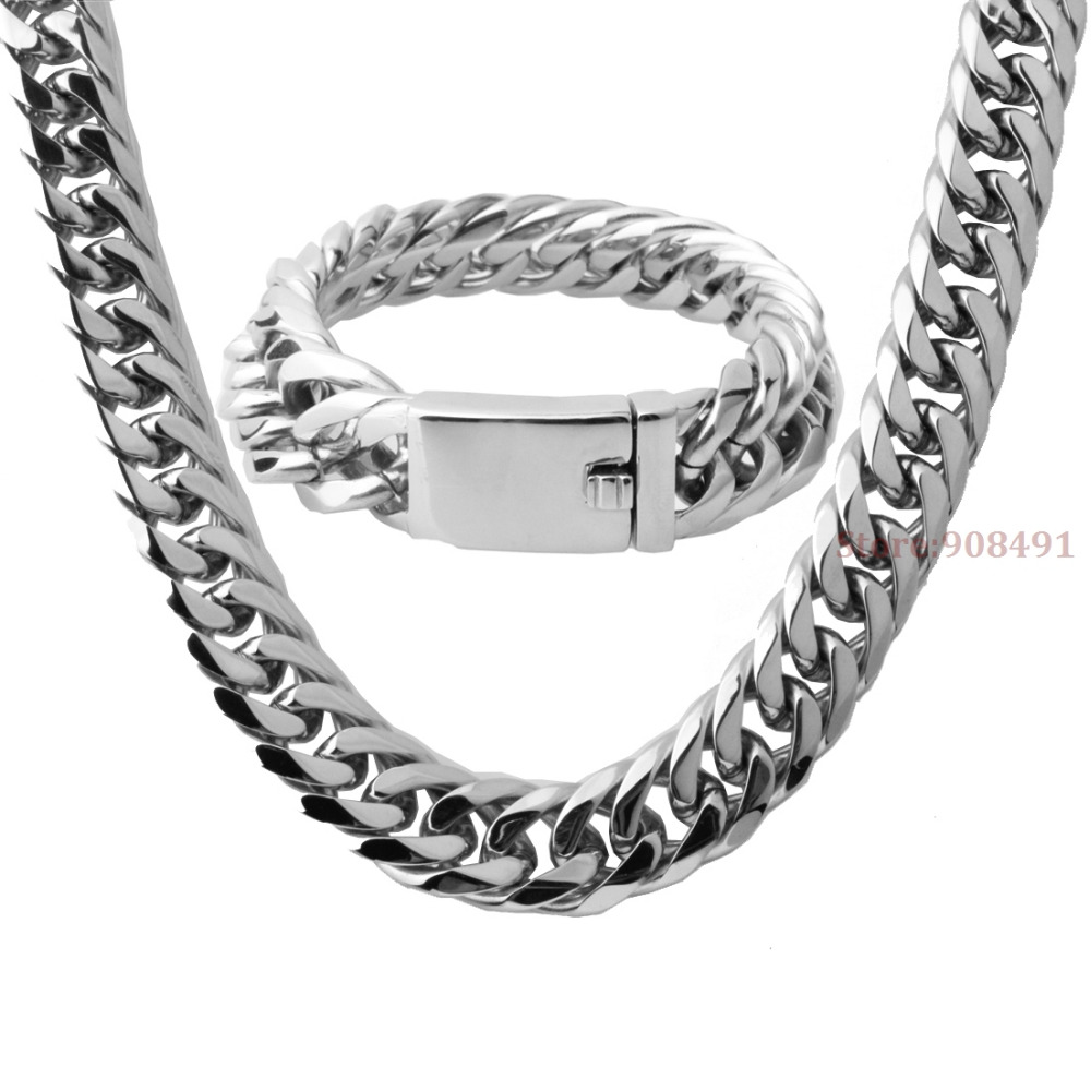 Nouvelle arrivée hommes garçons argent acier inoxydable lourd large bordure lien chaîne Bracelet collier bijoux ensemble 16mm24pouces + 8.66 pouces
